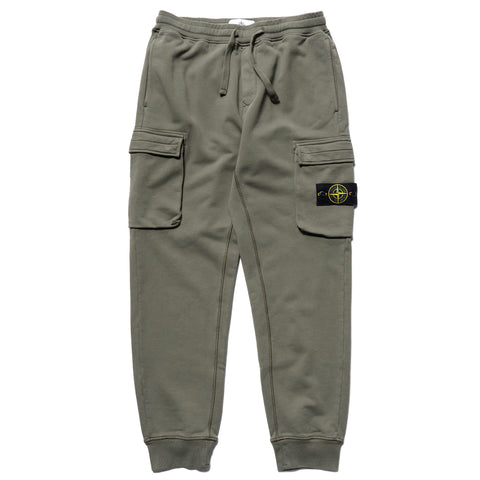 Stone Island Cotton Fleece Garment Dyed Regular Fit Sweat Pant Olive, Bottoms