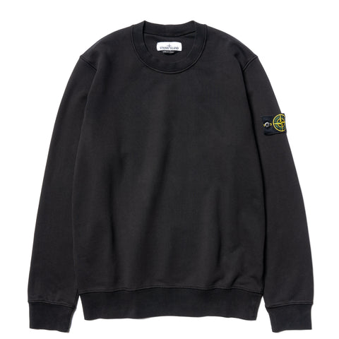 Stone Island Cotton Fleece Garment Dyed Standard Crewneck Black, Sweaters
