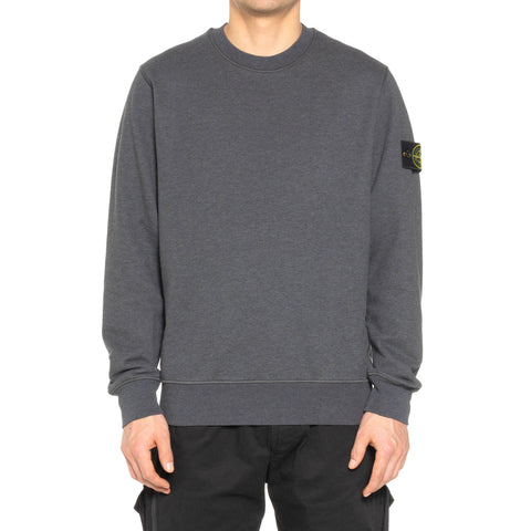 Stone Island Cotton Fleece Garment Dyed Standard Crewneck Fumo Melange, Sweaters