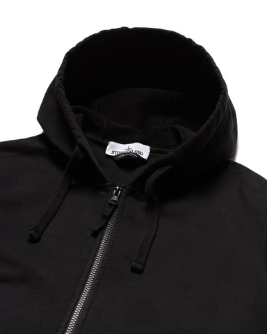 Stone Island Cotton Fleece Garment Dyed Zip Hooded Sweater Black, Sweaters
