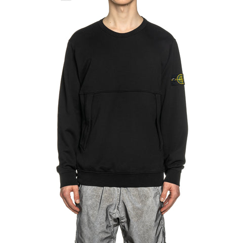 Stone Island Cotton Fleece Garment Dyed Zip Pocket Crewneck Black, Sweaters