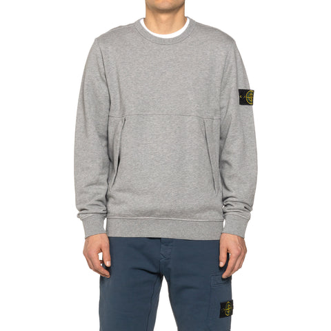 Stone Island Cotton Fleece Garment Dyed Zip Pocket Crewneck Polvere, Sweaters