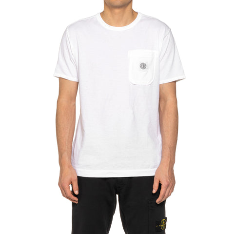 Stone Island Cotton Jersey Garment Dyed Fissato Effect Pocket T-Shirt White, T-Shirts