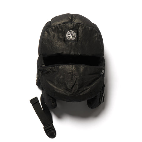 Stone Island Cotton Metal Garment Dyed Face Protector Cap Black, Headwear