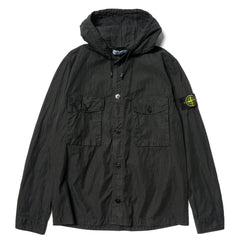Stone Island Cotton Nylon Poplin Garment Dyed BD Hooded Shirt Black, Tops