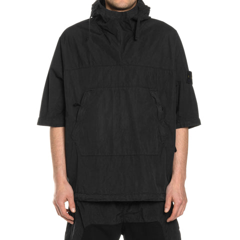 Stone Island Cotton Nylon Poplin Garment Dyed SS Hooded Pullover Black, Sweaters