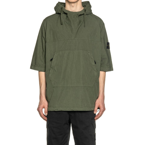 Stone Island Cotton Nylon Poplin Garment Dyed SS Hooded Pullover Olive, Sweaters