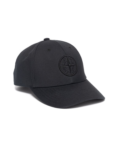 Stone Island Cotton Rep 6 Panel Cap Black, Headwear