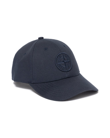 Stone Island Cotton Rep 6 Panel Cap Navy Blue, Headwear