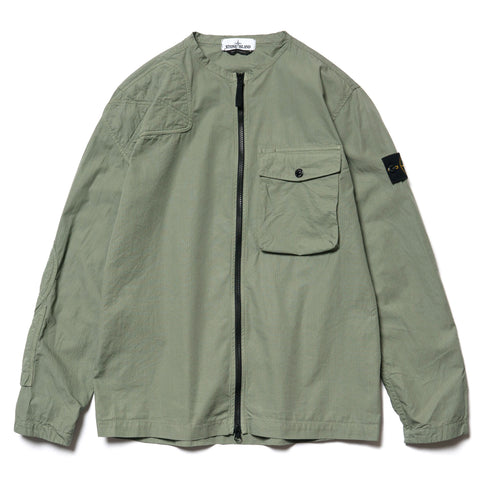 Stone Island Cotton Ripstop Garment Dyed Collarless BD Shirt Sage, Tops