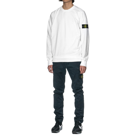 Stone Island Cotton Stretch Fleece Garment Crew Blanco, Sweaters