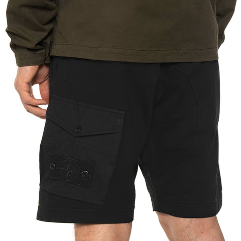 "Stone Island Cotton Stretch Fleece ""Ghost Piece"" Garment Dyed Sweat Short Black, Bottoms"