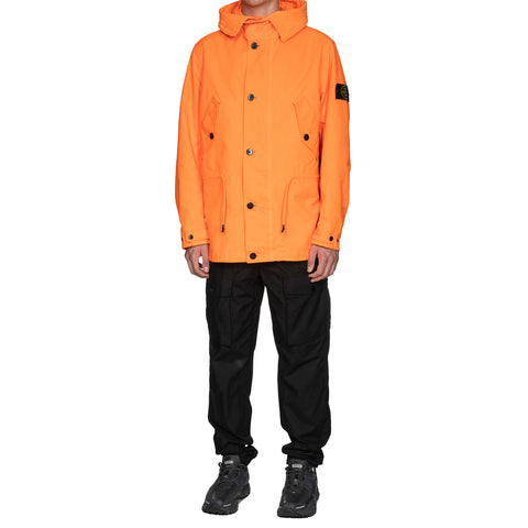 Stone Island David TC Fabric Arancio Fluo Hooded Short Jacket Aranio Fluo, Jackets