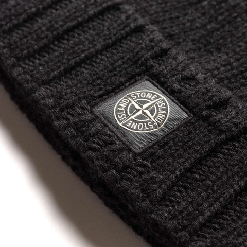 Stone Island Geelong Wool Knit Beanie Antracite, Headwear