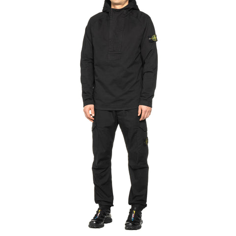 Stone Island Heavy Cotton Jersey Garment Dyed 2 Zip Pullover Hoodie Black, Sweaters
