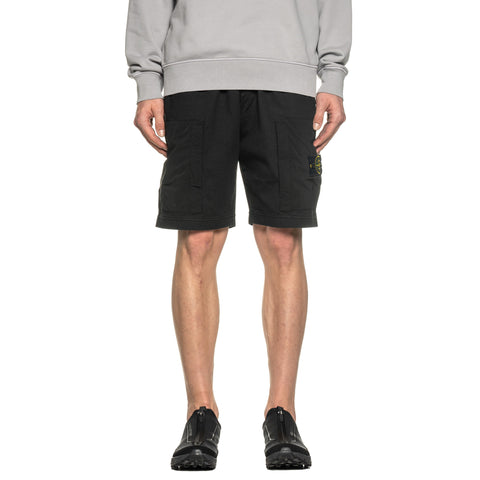 Stone Island Heavy Cotton Jersey Mussola Gommata Garment Dyed Sweat Short Black, Bottoms