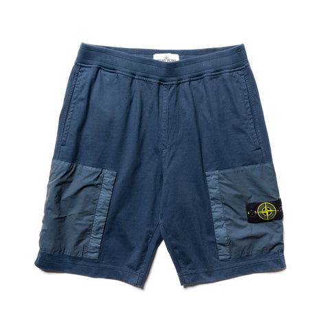 Stone Island Heavy Cotton Jersey Mussola Gommata Garment Dyed Sweat Short Blue Marine, Bottoms