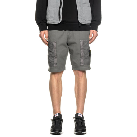 Stone Island Heavy Cotton Jersey Mussola Gommata Garment Dyed Sweat Short Peltro, Bottoms