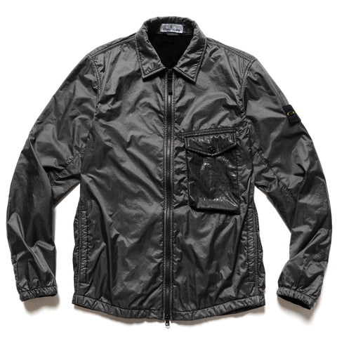 Stone Island Lamy Flock Garment Dyed Zip Shirt Jacket Black, Outerwear