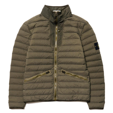 Stone Island Loom Woven Down Chambers Stand Collar Insulated Jacket Olive, Outerwear