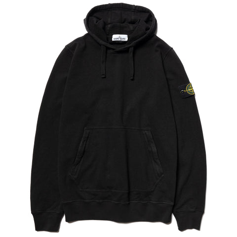 "Stone Island Malfile Fleece Garment Dyed ""Old Effect"" Pullover Hoodie Black, Sweaters"