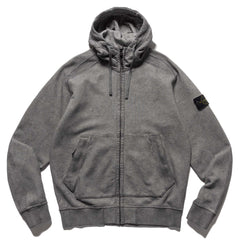 Stone Island Melange Cotton Fleece Dust Color Zip Hooded Sweater Black, Sweaters