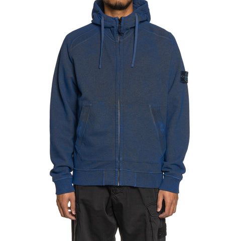 Stone Island Melange Cotton Fleece Dust Color Zip Hooded Sweater Pervinca, Sweaters