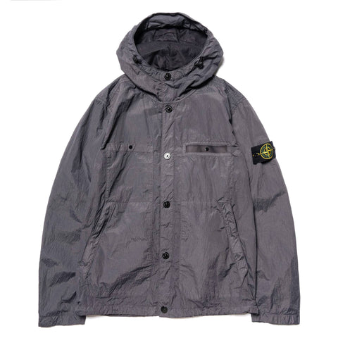 Stone Island Metal Seersucker TC Garment Dyed Hooded Jacket Pewter, Outerwear
