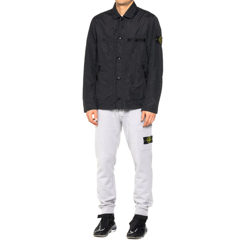 Stone Island Metal Seersucker TC Garment Dyed Shirt Jacket Black, Outerwear