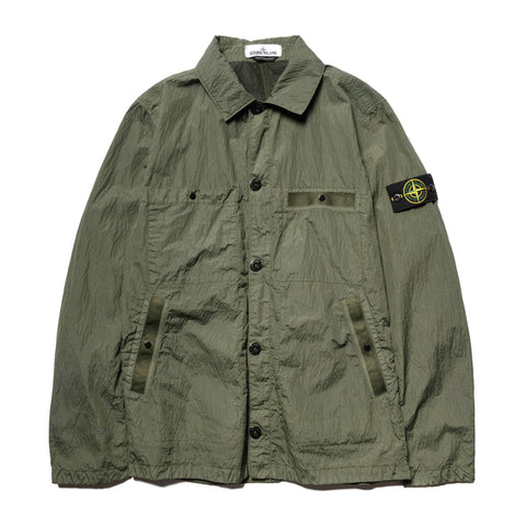 Stone Island Metal Seersucker TC Garment Dyed Shirt Jacket Olive, Outerwear