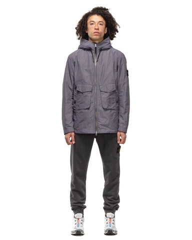 Stone Island Micro Reps 2 Pocket Zip Hooded Jacket Blue Grey, Outerwear