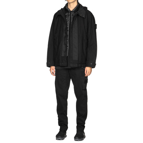Stone Island Diagonal Wool Ghost Piece Garment Dyed Easy Cargo Pant Black, Bottoms