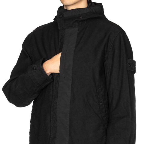 Stone Island Diagonal Wool Ghost Piece Hooded Parka With Liner Black, Jackets
