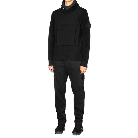 Stone Island Diagonal Wool Ghost Piece Garment Knit Parka Black, Outerwear