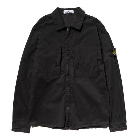Stone Island Mussola Gommata Stretch Cotton Twill Garment Dyed Shirt Jacket Black, Outerwear