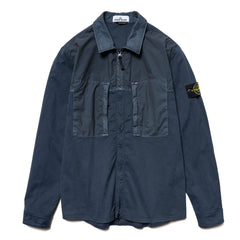Stone Island Mussola Gommata Stretch Cotton Twill Garment Dyed Shirt Jacket Blue Marine, Outerwear