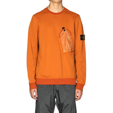Stone Island Nylon Cotton Fleece Pocket Crew Arancio, Sweaters