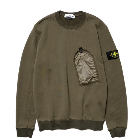 Stone Island Nylon Cotton Fleece Garment Dyed Pocket Crew Olive, Sweaters