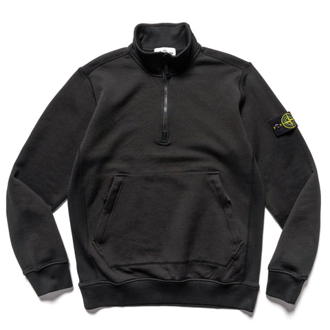 Stone Island Nylon Cotton Fleece Half Zip PO Sweater Black, Sweaters