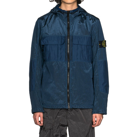 Stone Island Nylon Metal Watro Ripstop Garment Dyed Hooded Zip Jacket Blue Marine, Jackets