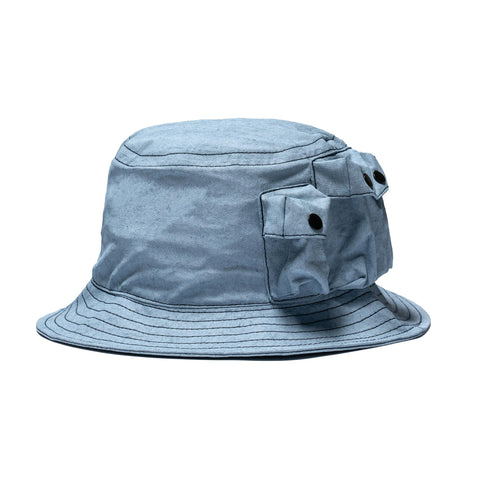 Stone Island Plated Canvas Bucket Hat Blue Marine, Headwear