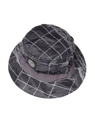 Stone Island Reflective Grid Lamy Bucket Hat Blue Grey, Headwear