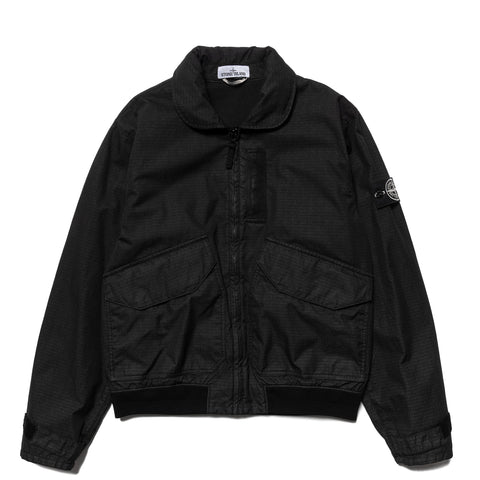 Stone Island Reflective Weave Ripstop-TC Flight Jacket Black, Outerwear