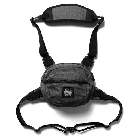 Stone Island Reflective Weave Ripstop-TC Garment Dyed Bumbag Black, Accessories
