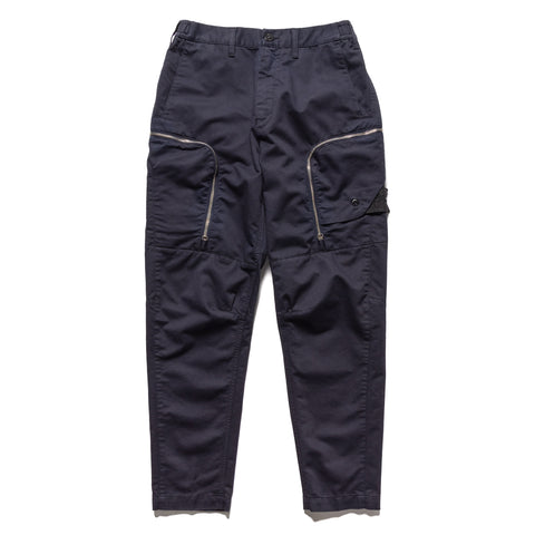 Stone Island Shadow Project Color Weft Cotton Satin Garment Dyed Zip Pocket Pant Indigo, Bottoms