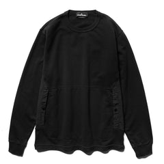 Stone Island Shadow Project Cotton Fleece Compact Treated Garment Dyed Crewneck Black, Sweaters