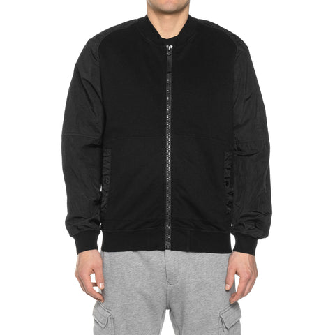 Stone Island Shadow Project Cotton Nylon Pique Fleece Compact Treated Garment Dyed Sweat Bomber Jacket Black, Outerwear