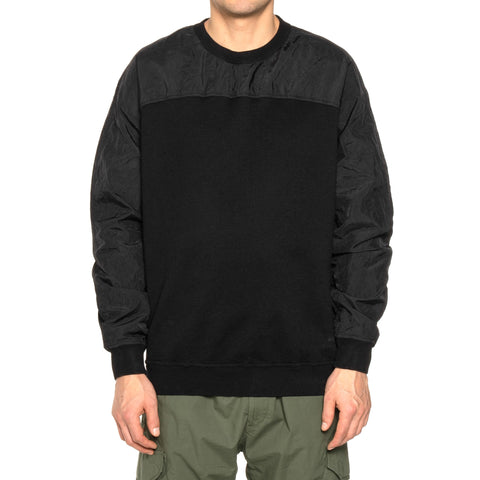 Stone Island Shadow Project Cotton Nylon Pique Fleece Compact Treated Garment Dyed Crewneck Black, Sweaters