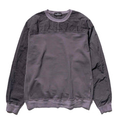 Stone Island Shadow Project Cotton Nylon Pique Fleece Compact Treated Garment Dyed Crewneck Peltro, Sweaters