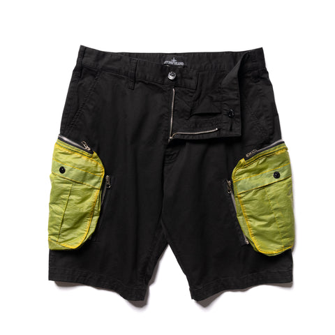 Stone Island Shadow Project Enzyme Treated Comfort Cotton Gabardine Garment Dyed Shorts Black, Bottoms